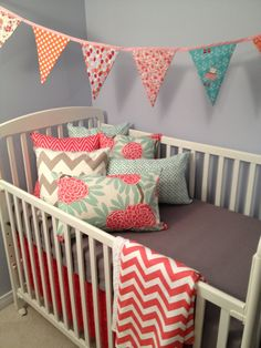 Coral and grey crib bedding by DandelionBabyblanket on Etsy, $290.00- love the coral, gray, and mint