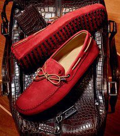 ooooh red mocasson  | heavy duty crocodile - esq overnight bag | how glorious