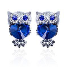 Big Crystal Owl Earrings (16 Colors)