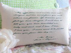 Jane Austen-Pride and Prejudice-'Mr Darcy's Declaration'-Miniature Quotation Pillow-Black Toile. $10.00, via Etsy.