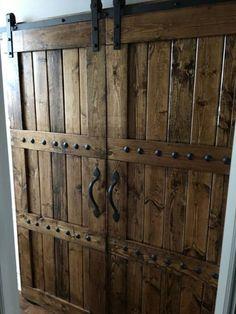 handmade sliding barn doors by GarJo12881 Rustic Doors, Rustic Barn, Wooden Doors, Barn Wood, Rustic Farmhouse, Barnwood Doors, Farmhouse Style, Metal Barn, Slab Doors