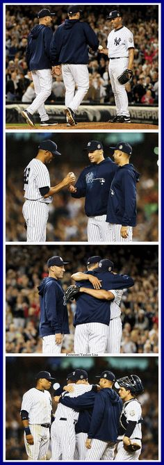 Mariano Rivera was taken out of his last game at Yankee Stadium by Derek Jeter and Andy Pettitte. #classy #heartwrenching #exitsandman