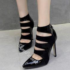 Shoespie - Shoespie Shoespie Black Cut Out Pointed Toe Court Shoes - AdoreWe.com