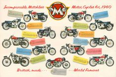 Classic Matchless Motorcycle Poster reproduced from the original 1960 range brochure. £12.00, via Etsy.