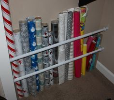 3. Wrangle wrapping paper - 5 new uses for tension rods (you'll wish you knew sooner, but you know now so it's ok)