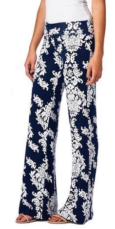 Floral Casual Wide Leg Long Harem Pants Loose Elastic Waist Palazzo Trousers  New Beach Pants 17c2eb009b0