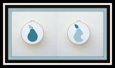 Pear Cross Stitch Pattern Blue - Digital File Hoop Art - X Stitch Pattern, Fruit Cross Stitch, Blue Pear, Easy Cross Stitch Pattern by threadsandthings1 on Etsy