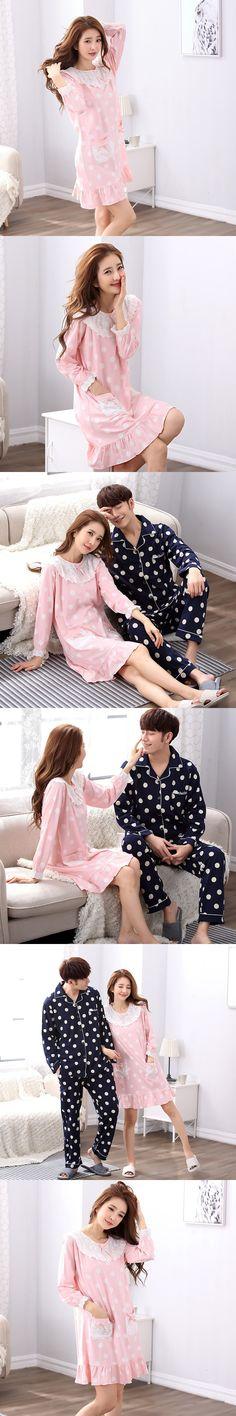 100% Cotton Couple Pajamas Sets For Men Polka Dot Sleepwear Long Sleeve lace cute women Nightwear Pyjamas Homewear Home Clothes