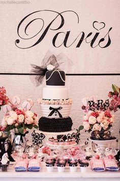 Pink Paris Birthday Party Planning Ideas Supplies Idea Chanel Cake - Chanel Paris - Ideas of Chanel Paris - Pink Paris Birthday Party Full of Cute Ideas via Kara's Party Ideas: The Cake Paris Party, Paris Birthday Parties, Paris Theme, Paris Decor, Paris Rosa, Bolo Paris, Paris Sweet 16, Pink Paris, Festa Party