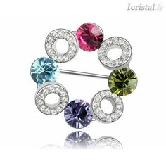 Beautiful Flower Circle Pin Brooches Crystal from Swarovski Womens Stylish Rhinestone Brooch Party Jewelry Casual Parure Bijoux Crystal Brooch, Crystal Jewelry, Swarovski, Flower Circle, Diamond Bracelets, Leather Bracelets, Amber Bracelet, Jewelry Party, Austrian Crystal