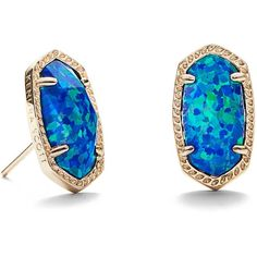 Ellie Gold Stud Earrings in Blue Opal | Kendra Scott ($95) ❤ liked on Polyvore featuring jewelry, earrings, kendra scott jewelry, blue jewelry, blue opal jewelry, stud earrings and gold jewellery