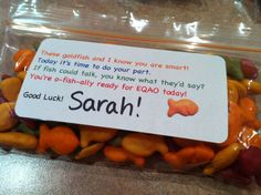EQAO test treats! Goldfish crackers to motivate the little testers!