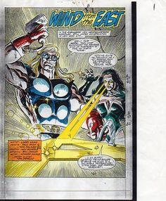 1990 Avengers 325 splash page 1 Marvel Comics original color guide artwork: Thor
