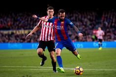 Aleix Vidal of FC Barcelona shoots the ball and scores his team's third goal during the La Liga match between FC Barcelona and Athletic Club at Camp Nou  stadium on February 4, 2017 in Barcelona, Catalonia.
