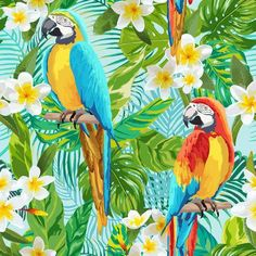 Tropical Flowers and Birds Background - Vintage Seamless Pattern - in vector Birds Painting, Animal Art, Painting, Illustration Art, Vector Images, Art, Tropical Art, Fashion Wall Art, Diy Canvas Art