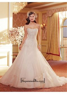 Alluring Organza & Satin Strapless Neckline Natural Waistline A-line Wedding Dress