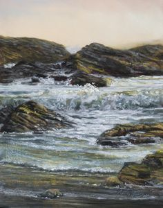 Liquid Light $775 (14×11 dry pastel). along the shores of Morro Bay, CA, is a spot where the sea calls out with the thunder of the crashing waves and I wonder to whom she calls. are there ship…