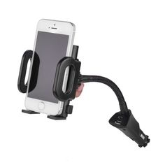 Universal ABS Cell Phone Car Mount Adjustable Holder Stand Rack USB 12V-24V Phone Charger Holder for Car High quality