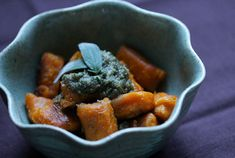 toasted sweet potato gnocchi with a sage & walnut pesto // vegan — whats cooking good looking