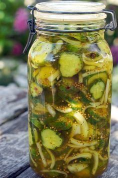 Bread 'n Butter Pickles. 5 Fresh pickling cucumbers, 2C cider vinegar, 1C Sugar, 2 TBSP pickling spice, 1 TBSP salt, 2C Water.  Heat vinegar, sugar, and spice to boiling. Let stand for 5 min off heat. Pour over cumbers. Cover with water. Refrigerate. Can be kept for 6 weeks.