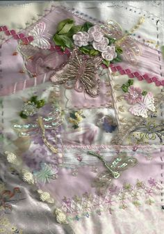 I ❤ crazy quilting, beading & ribbon embroidery . . . Pink block CQ ~By Bears Embroidery Den