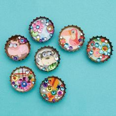 DIY CRAFTS RECYCLING Think small! These tiny, jewel-like bottle-cap magnets will look fabulous on your fridge door.