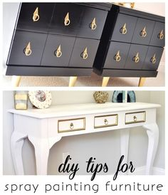 Spray painting furniture DIY tips including detailed list of materials needed, from Centsational Girl. Spray Paint Furniture, Furniture Makeover, Painting Furniture, Furniture Projects, Diy Furniture, Diy Projects, Furniture Refinishing, Repurposed Furniture, Bathroom Furniture