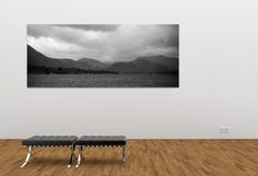 Panoramic Black and white landscape photograph of Ullswater in the Lake District / canvas print / art print / wall art