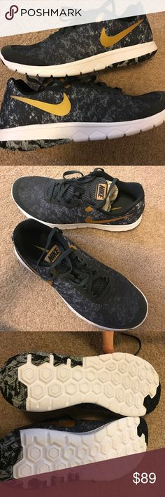 NWT Nike Flex Black & Gold Sneakers Size 8.5 NWT Nike Flex Black & Gold Sneakers Size 8.5 Nike Shoes Sneakers