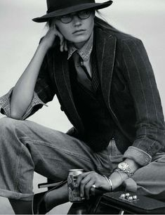 Vogue Paris September 2009,  Anna Jagodzinska as Diane Keaton