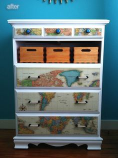 99 Clever Ways To Transform A Boring Dresser - map decoupage Furniture Projects, Furniture Making, Furniture Makeover, Diy Furniture, Diy Projects, Dresser Makeovers, Dresser Ideas, Antique Furniture, Outdoor Furniture
