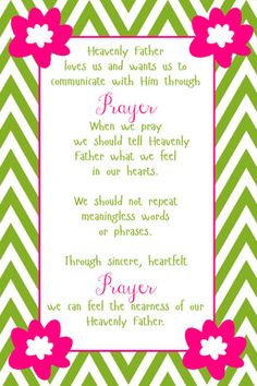 YW May lesson help.  Meaningful Prayer.  Power point and handout,.