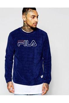 Heren sweaters - Fila Black Sweatshirt In Towelling