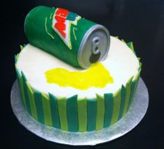 A Mountain Dew cake. Made with Mountain Dew flavored butter cream.