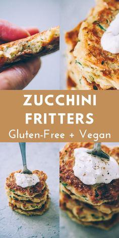 Gluten Free Snacks, Vegan Snacks, Vegan Dinners, Vegan Gluten Free, Healthy Snacks, Vegan Food, Paleo, Keto, Gluten Free Zucchini Fritters