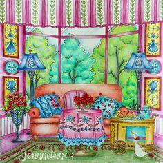 No more Christmas or winter images from me.  Tea time with Joset in The Pink Room at The Manor, Cocot. #romanticcountrycoloringbook #eriy #romanticcountry #eriy06 #ロマンティックカントリー #로맨틱컨트리 #大人の塗り絵 #coloringmasterpiece #desenhoscolorir #colorindolivrostop #prazeremcolorir #bayan_boyan #artecomoterapia #boracolorirtop #livrocoloriramo #arte_e_colorir #colorindomeujardimencantado #moncoloriagepouradultes #kleurenvoorvolwassenen #adultcoloringforum