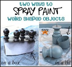 Spray painting tip - two ways to spray paint weird shaped objects; on a box or in a lid. Lots of other DIY tips at houseofhepworths.com