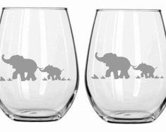 Sand Etched Elephant Glass Set of 2 Choose from Wine, Stemless Wine, Pub, Pilsner, Beer Mug, Coffee Mug, Rocks FREE Personalization