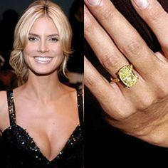 Seal proposed to Heidi Klum inside an igloo in the Canadian Rockies with a canary diamond engagement ring by Lorraine Schwartz. Buy an exact copy of this ring, and read more about Seal and Heidi Klum's wedding. Engagement Rings Toronto, Celebrity Engagement Rings, Engagement Ring Photos, Beautiful Engagement Rings, Wedding Engagement, Seal And Heidi Klum, Yellow Diamond Engagement Ring, Engagement Celebration, Rose Cut Diamond