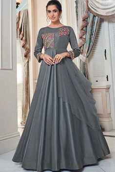 Suits For Women, Women Wear, Online Shopping Sarees, Silk Gown, Gowns Online, Designer Gowns, Embroidered Silk, Types Of Sleeves, Party Wear