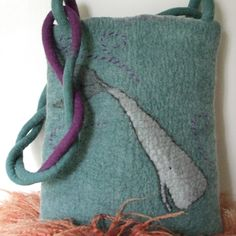 Large Felted Bag - Whales and Waves - inspired by Hundertwasser