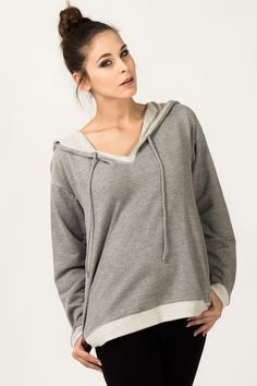 Complete your comfort-driven look with this cotton-blend hoodie decked in an easy-to-match hue. Hooded Jacket, Pullover, Hoodies, Grey, Sweaters, Cotton, Jackets, Fashion, Jacket With Hoodie