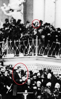 A closeup of a photo taken at Abraham Lincoln's second Inauguration (March 4, 1865). Among the onlookers was John Wilkes Booth. Each man is circled.