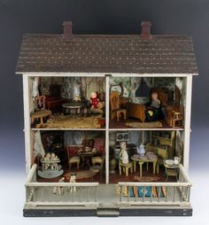 Fabulous Vintage Antique Doll House with Folding Porch and Miniatures Etc | eBay