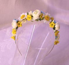 Sunny morning Floral headband flowergirl accessory Bridal wedding faerie costume fairy hair flowers on Etsy 17eur