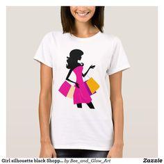 Girl silhouette black Shopping girl T-Shirt