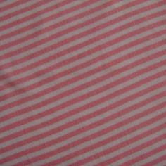 Tissu jersey interlock 100% coton bio rayé rose et blanc