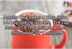 1000 Life Hacks: Nutella Mug Cake Mug Recipes, Nutella Recipes, Microwave Recipes, Sweet Recipes, Baking Recipes, Candy Recipes, Quick Recipes, Cookie Recipes, Pastries