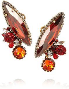 Erickson Beamon Envy gold-plated Swarovski crystal clip earrings