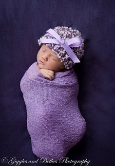 Newborn hat in plum and lavender,Baby girl hat,Baby hat,Baby Beanie,Newborn hat,Baby shower gift,Newborn,Photo Prop,Girl hat,Infant Hat, on Etsy, $14.00